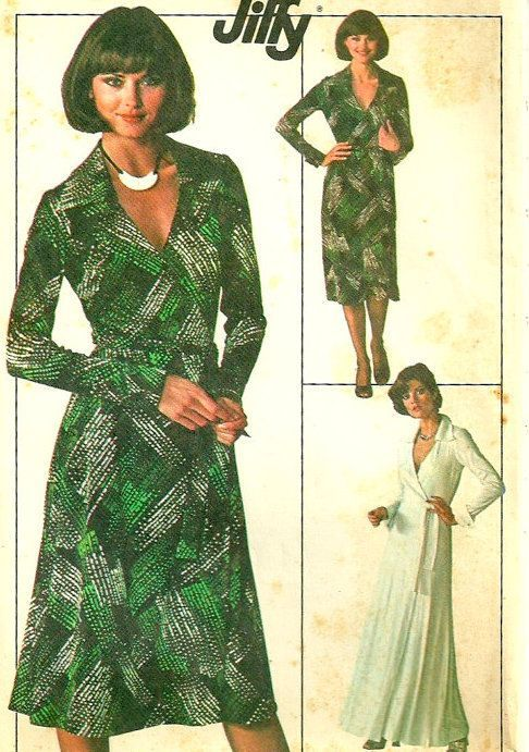 1970s Wrap Dress Sewing Pattern In 2019 Wrap Around