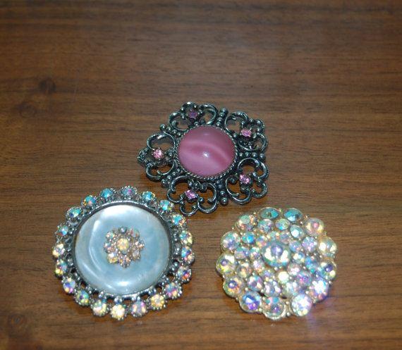 Vintage Brooch Lot x 3  Pink Marbled Aurora by rainandlights
