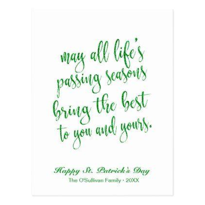 Cute Green Glitter Irish Toast St Patrick S Day Postcard Simple Clear Clean Design Style