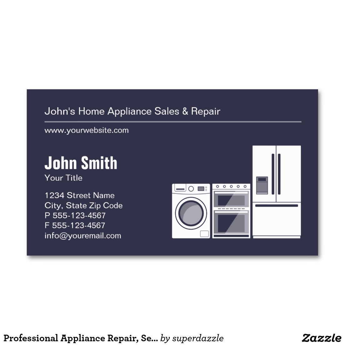 Professional Appliance Repair, Service and Sale Business Card ...