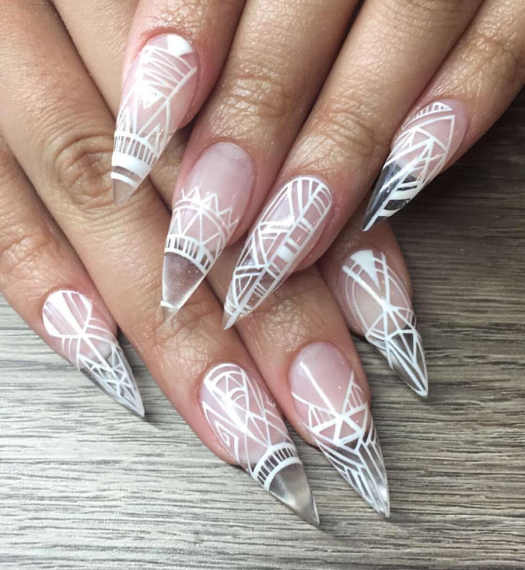 White, negative space, clear stilettos | Nail Art | Pinterest ...