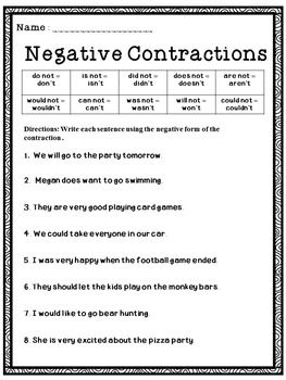Contractions - Making Contractions NegativeThis is a free ...