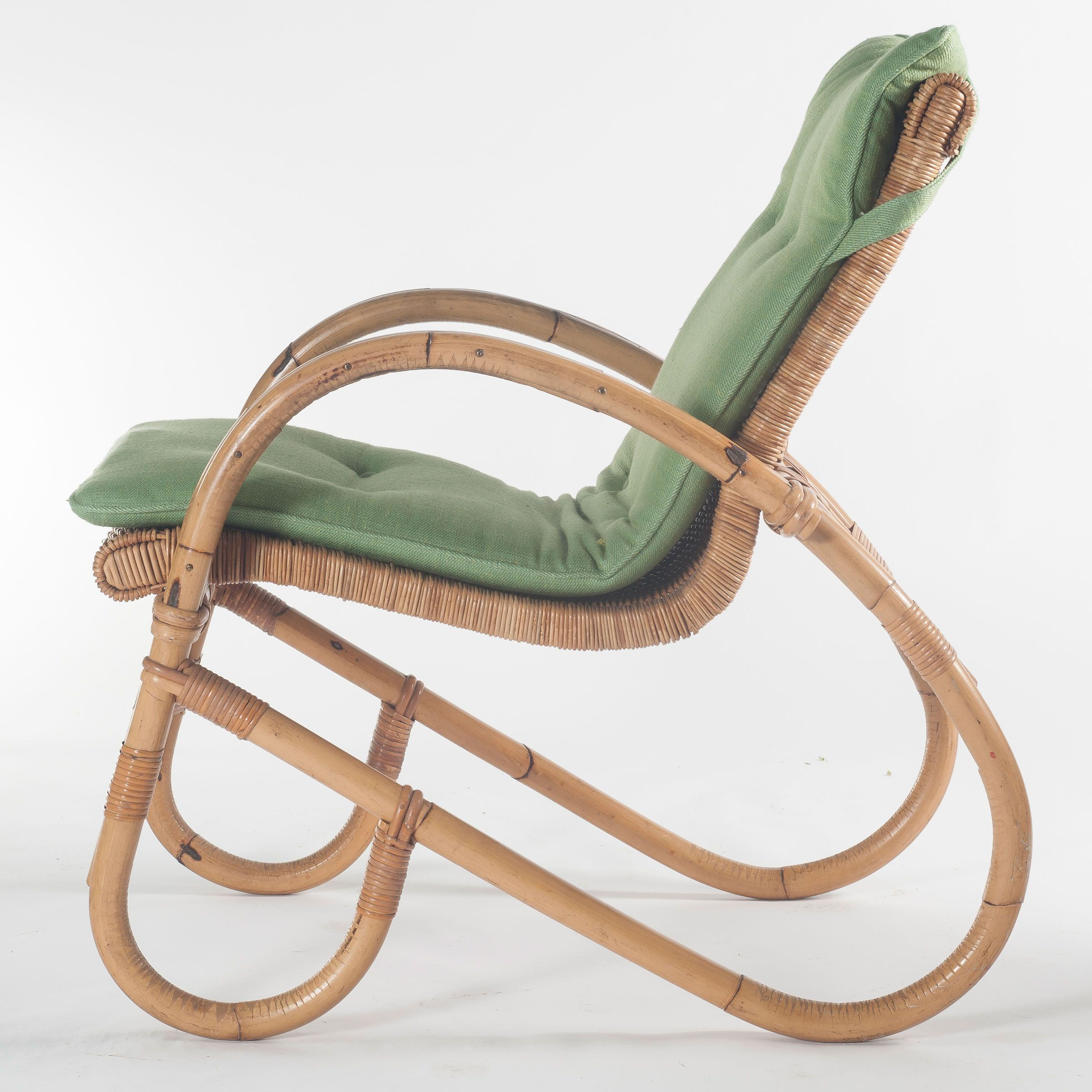 Price reduced sturdy wooden vintage rocking chair made in yugoslavia - Anonymous Bamboo And Rattan Chair By Korbwaren Steinberg 1950s