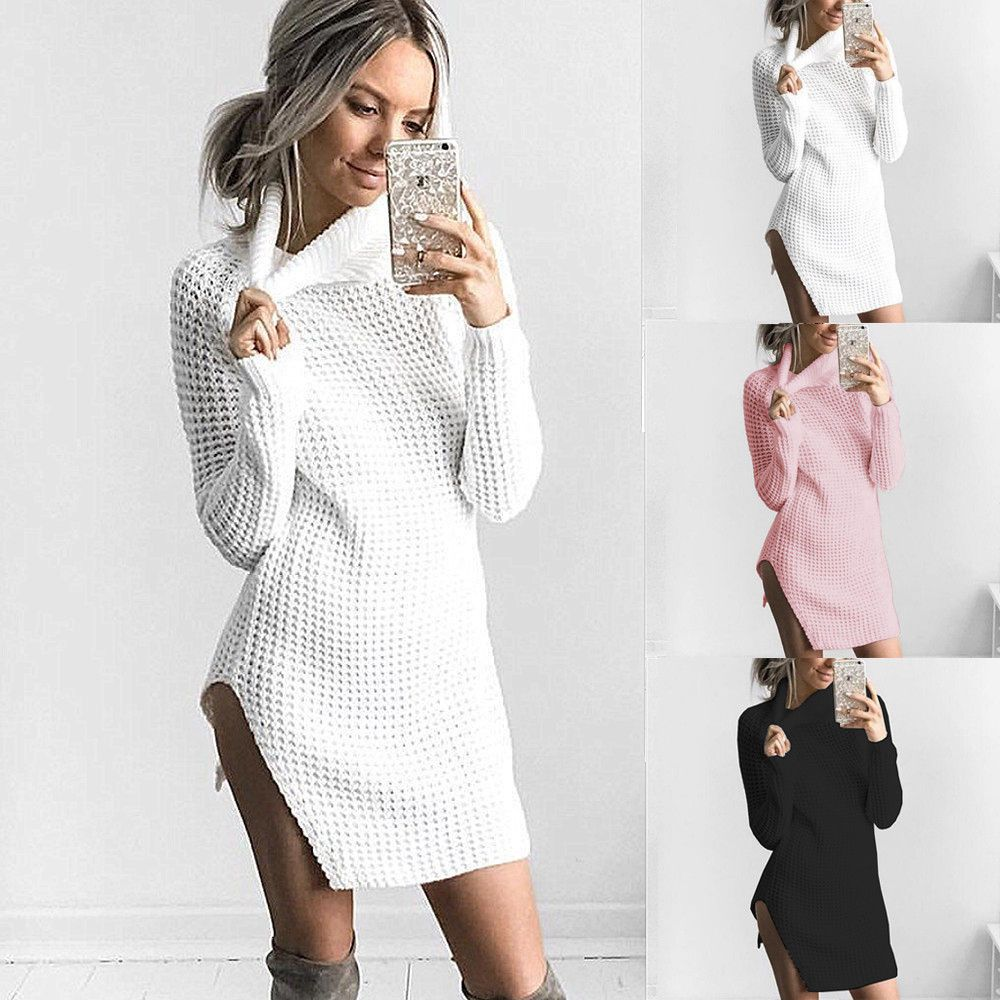 Cool Awesome Winter Women Ladies Casual Turtleneck Bodycon Long ...