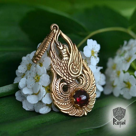 Phoenix bird pendant fire bird pendant with gemstones firebird phoenix bird pendant fire bird pendant with gemstones mozeypictures Gallery
