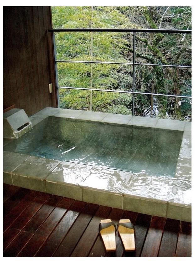 A tiled soaking tub at the Arcana Izu hotel and spa in Izu-shi, Japan.