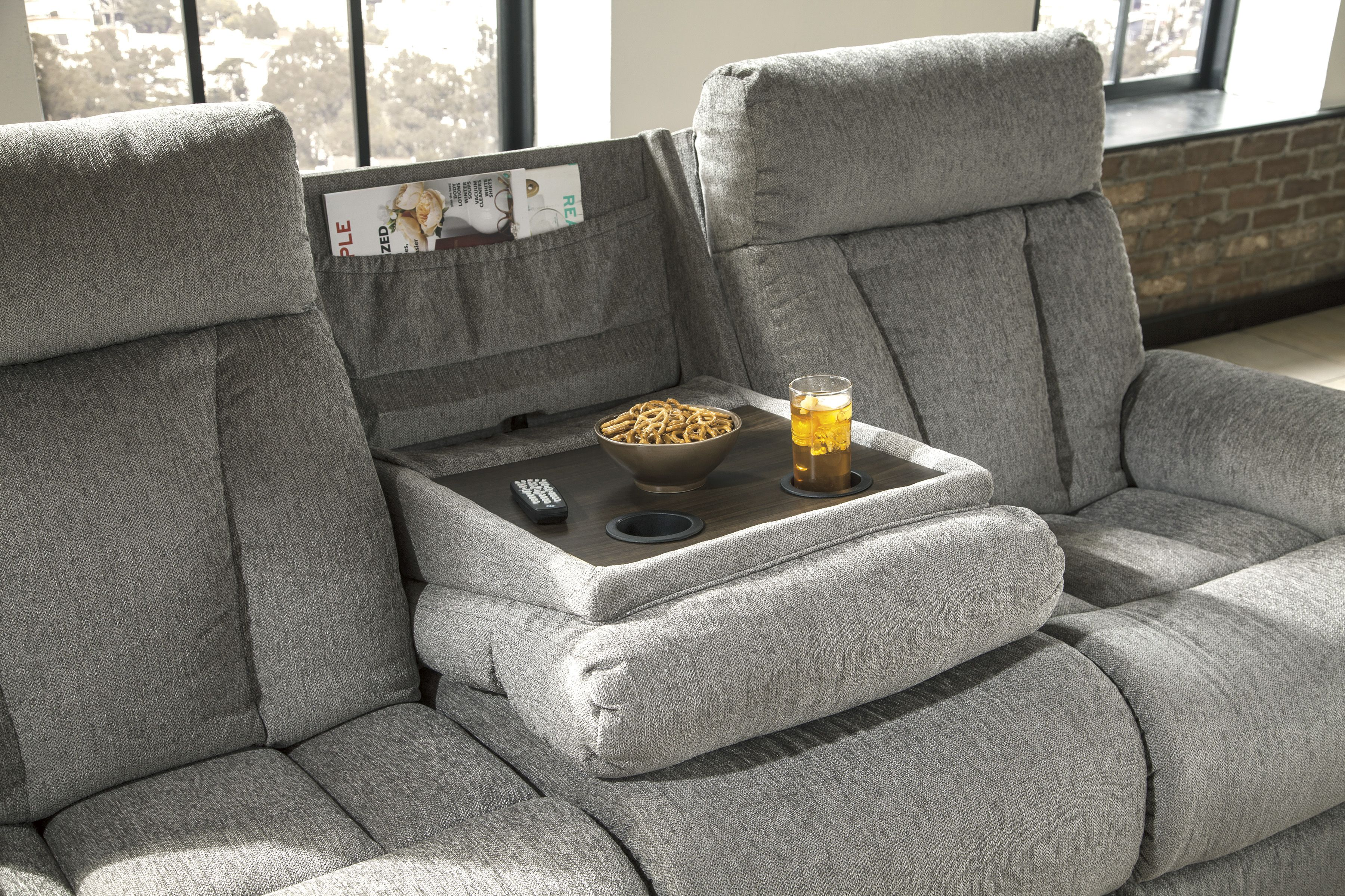 Ashley Mitchiner Reclining Sofa With Drop Down Table Homemakers