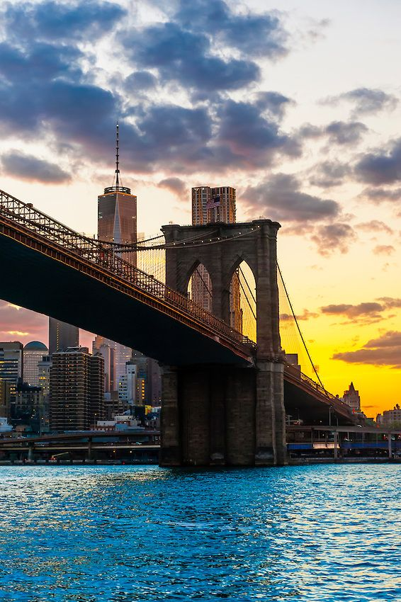 The Brooklyn Bridge Which Connects Manhattan And Brooklyn