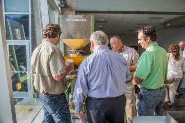 At the Canola Institute, MHG demonstrated the crushing and cold pressing of seed into canola oil, which is an integral part of the agrofacturing process.