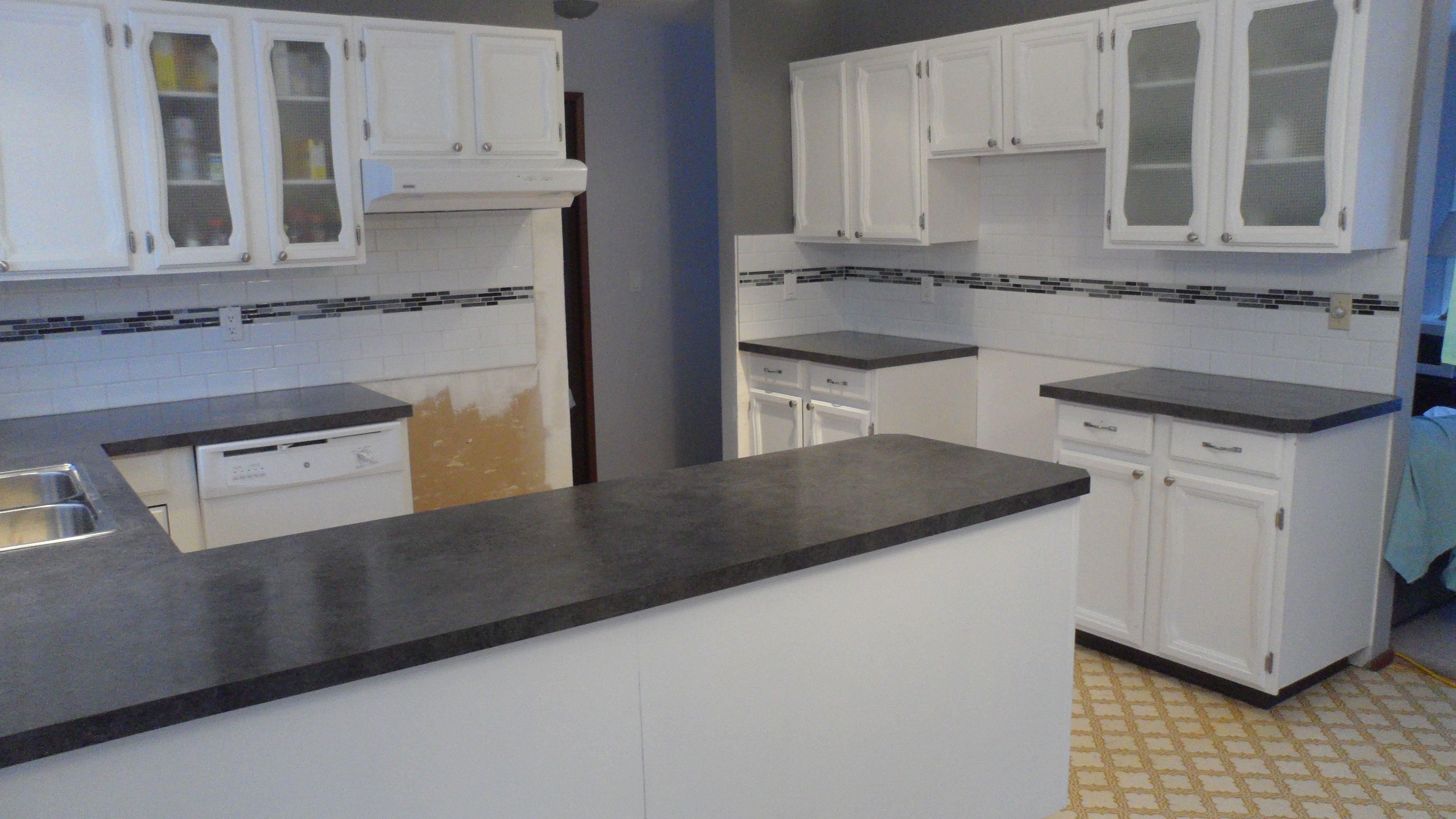 Offset White Ceramic Subway Tile With Black And White