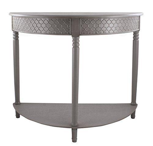 Brandon Half Round Wood Table with Shelf, Gray #SimplyAbundant #HallTable #EntryTable #SofaTable