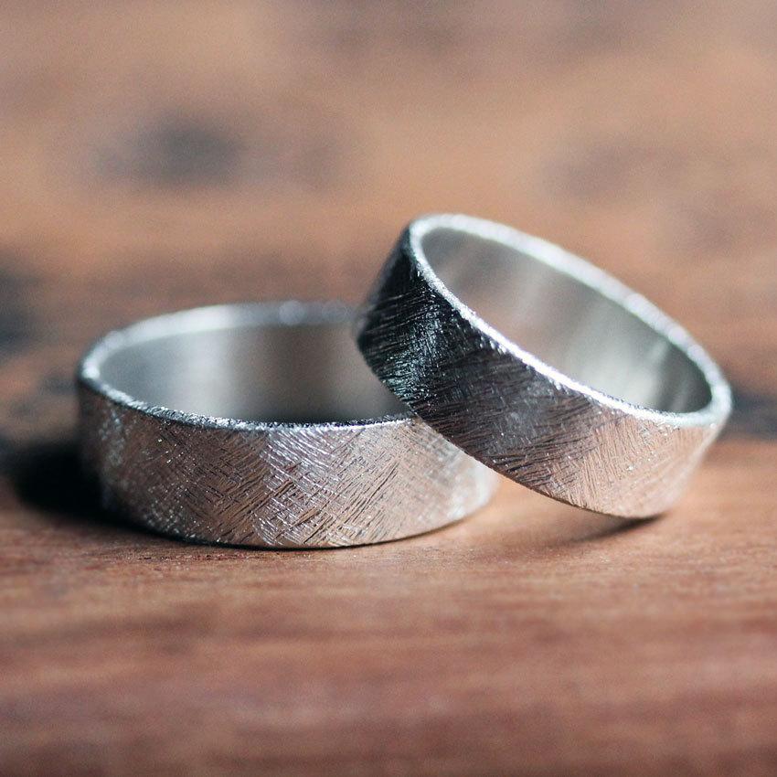 Modern Textured Wedding Band Set Artisan Metalsmith