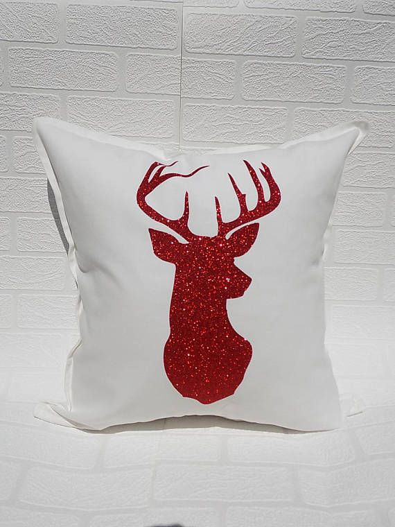 Deer Head Pillow Cover Red and Black