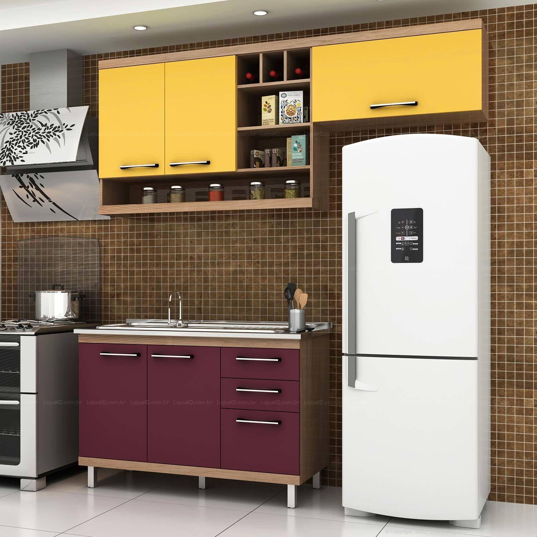 Cozinha Compacta 5 Portas E 3 Gavetas Fruits Avel Maracuj A A