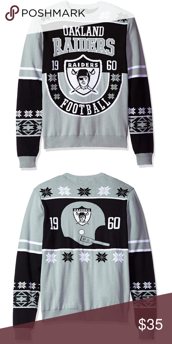 Ugly Christmas Sweater Oakland Raiders New Nwt My Posh Closet