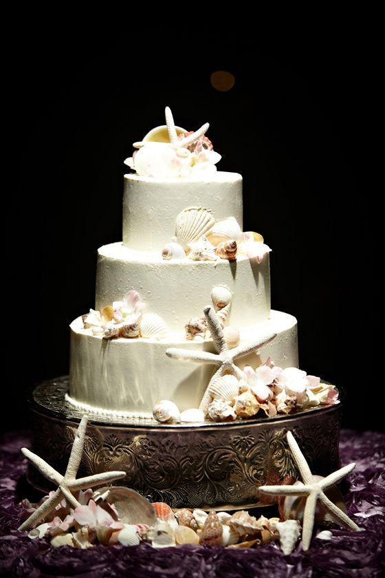 Sea themed wedding cake.  www.mikiandsonja.com