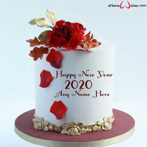 Red Rose New Year 2020 Wish Name Cake Cake name, New