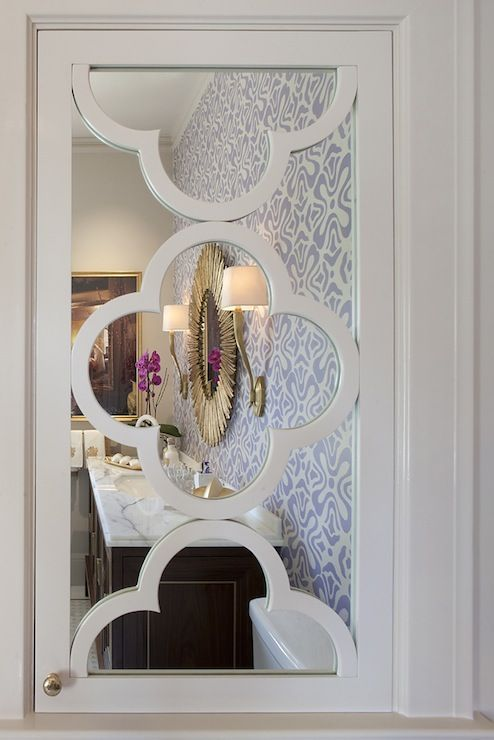 Suzie: Artistic Designs For Living   White Quatrefoil Pattern Mirrored  Cabinet.
