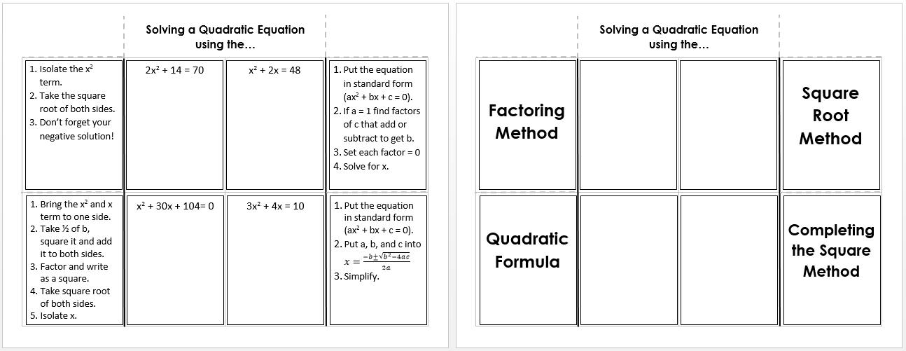 Solving A Quadratic Equation Foldable Teaching Pinterest