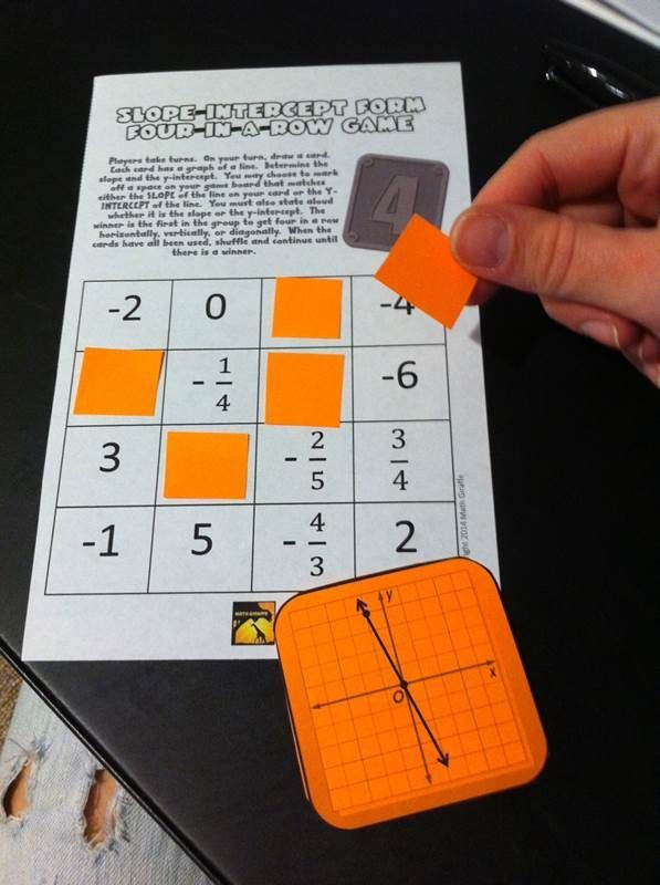 Four In A Row Game Slope Intercept Form Equation Students And Gaming