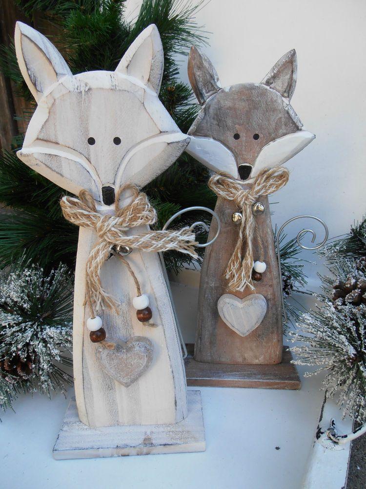 Fuchse Aus Holz Handarbeit Tierfigur Shabby Natur Deko Herz Fuchs