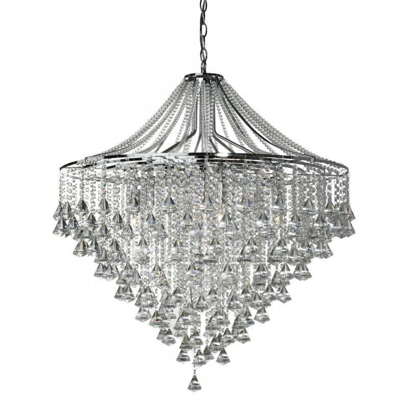 Dorchester Chrome And Crystal Seven Light Chandelier Searchlight 3497 7cc
