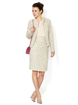 Chanel Tweed Feather Fringe Runway Skirt Suit