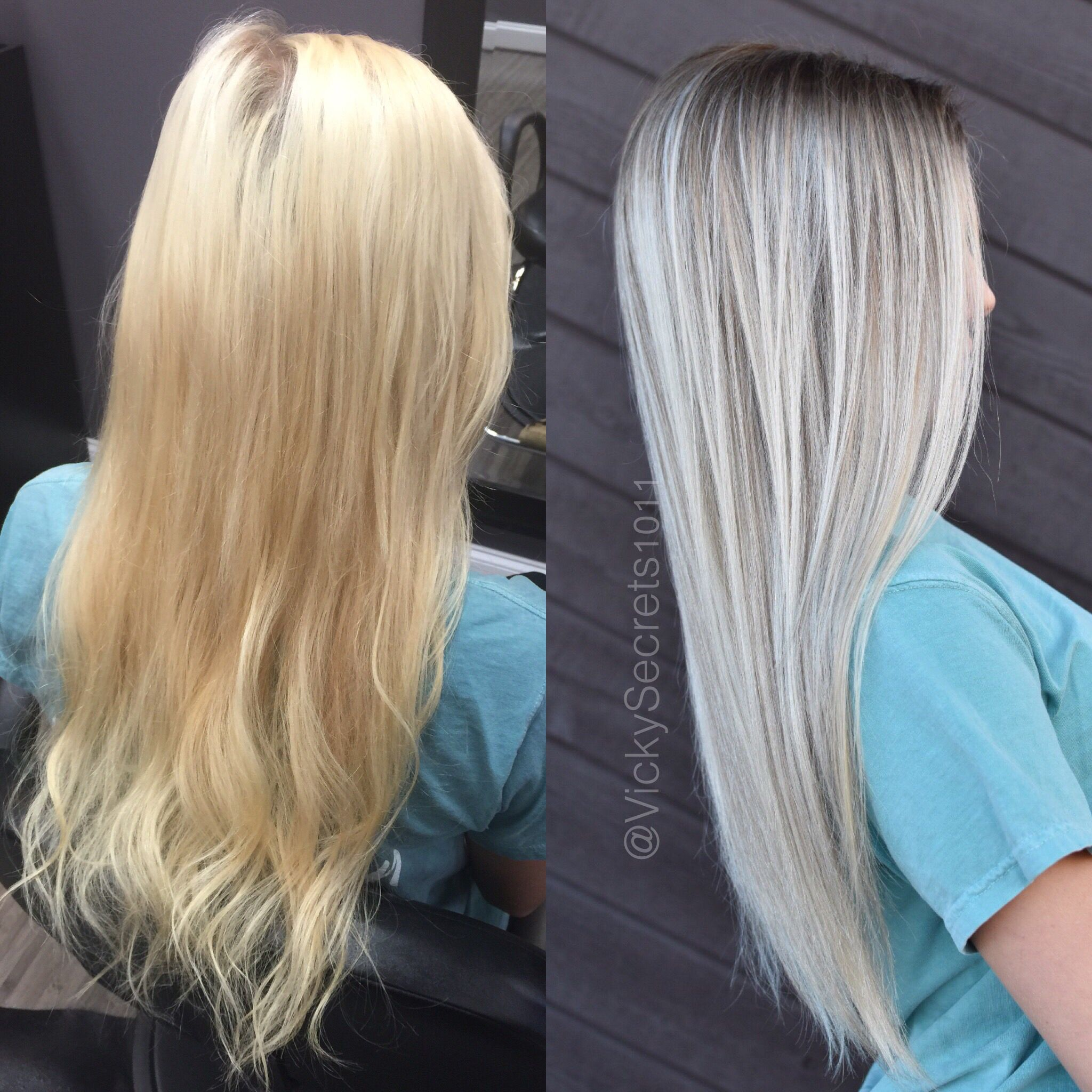 Before and after blonde to colormelt balayage Ombre by