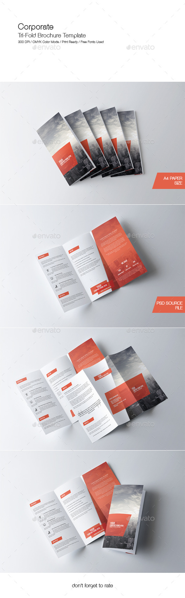 corporate trifold brochure template photoshop psd a4 size