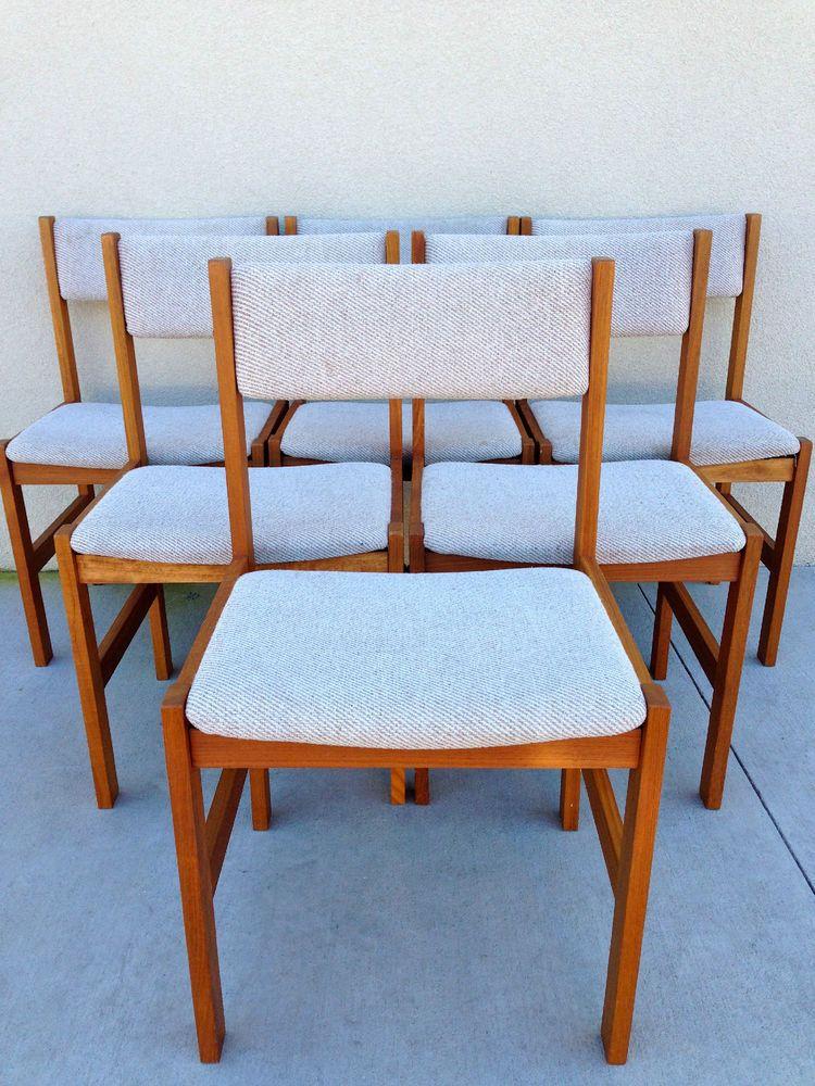 6 Mid Century Modern Teak Dining Chairs By Sun Cabinet Co Teak Dining Chairs Dining Chairs Chair