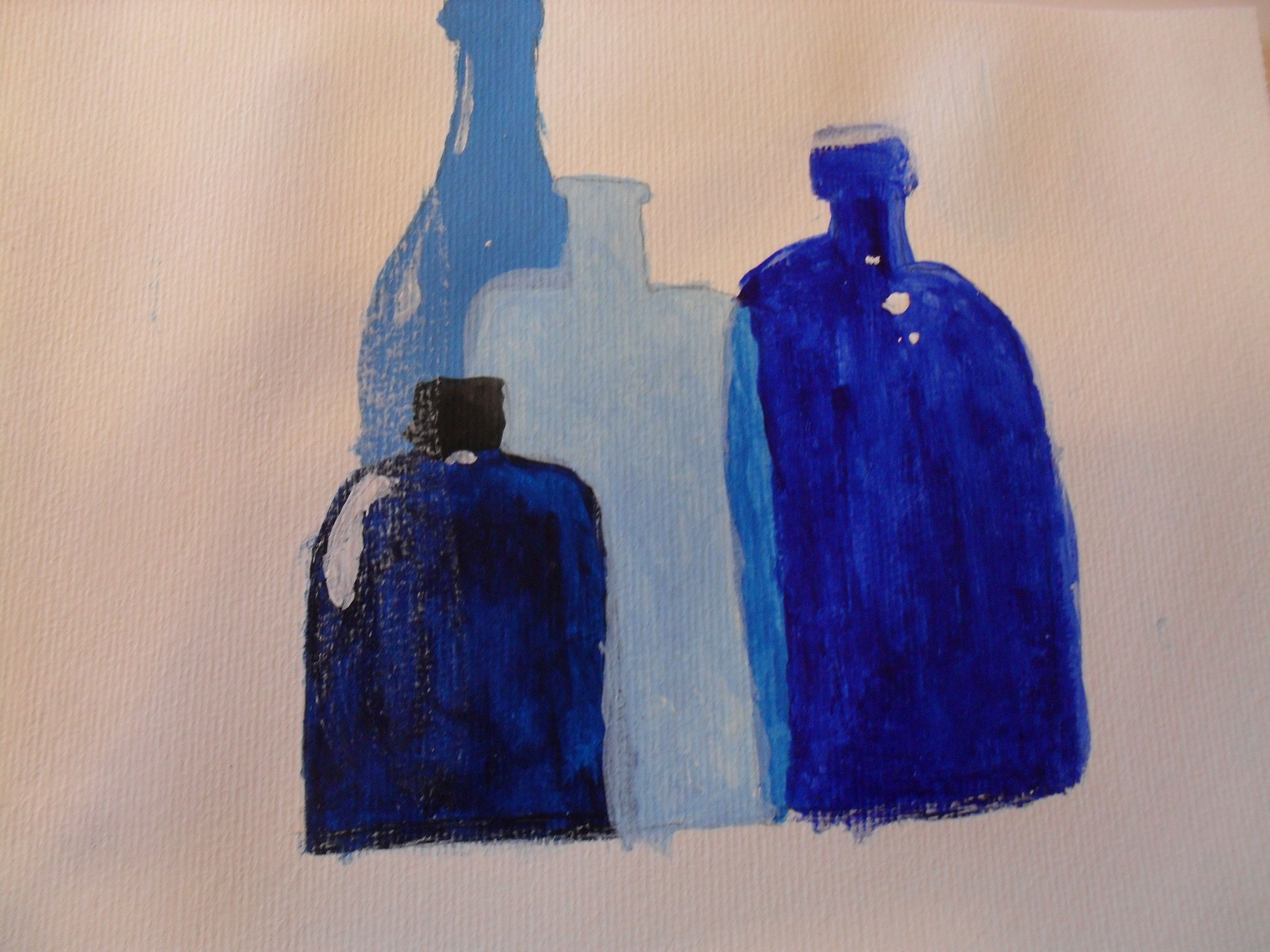 Blue bottles painted in Acrylic!