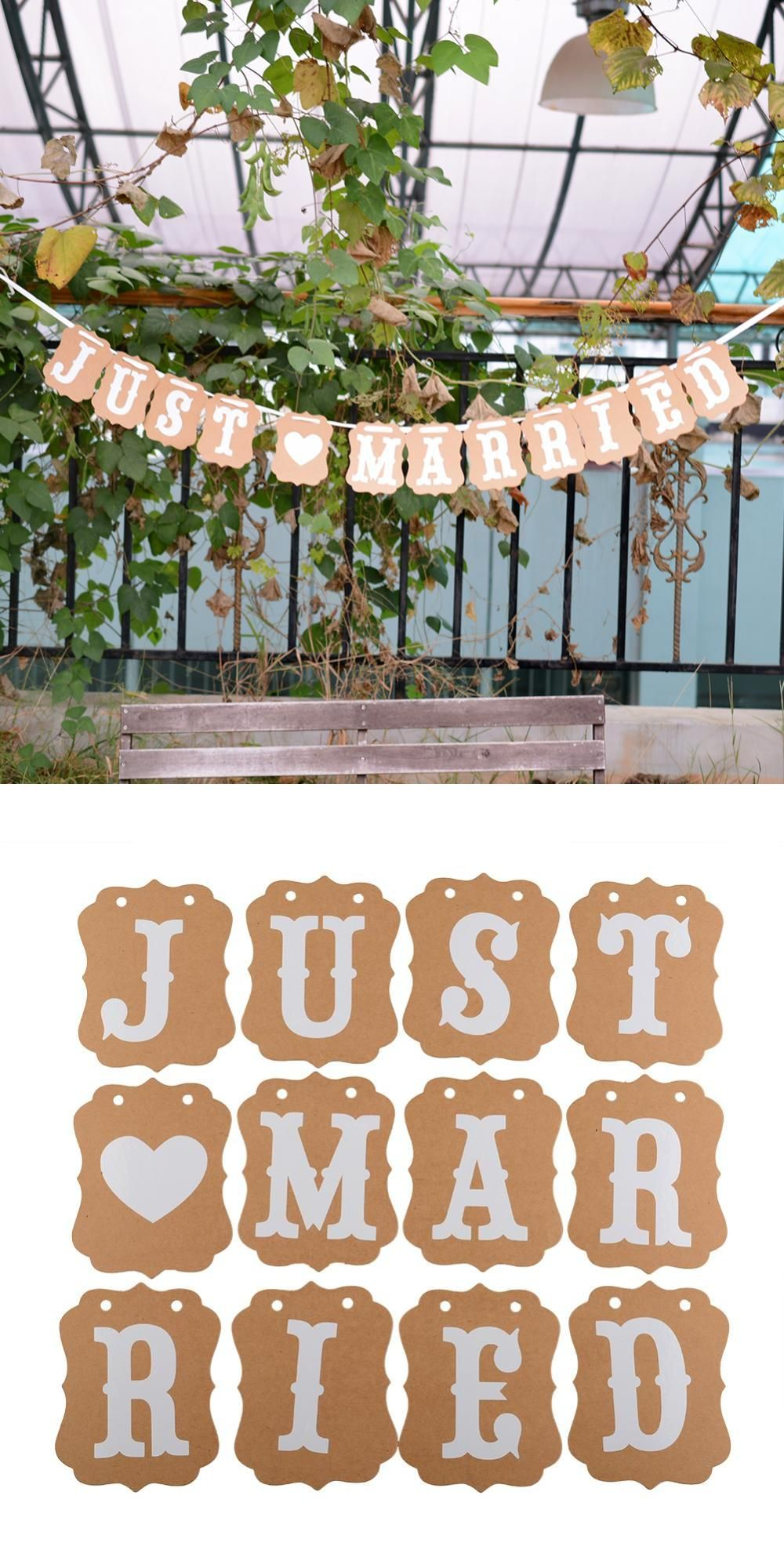 Visit to buy hot lovely just married decorations banner vintage visit to buy hot lovely just married decorations banner vintage wedding decoration mariage paper junglespirit Choice Image