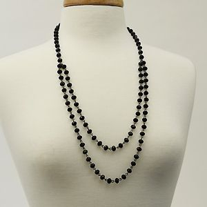 "Crystal Daze-Black  Length: 32""  Black Crystal Layered Necklace  25.00  http://www.thebluezebra.com  shipping to Canada and the USA IS FREE!!"