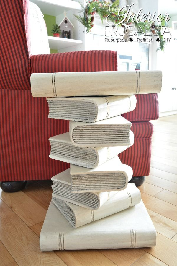 Hand Carved Stacked Books Table Refresh