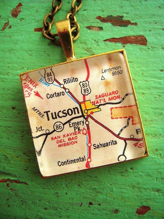 Vintage Tucson Arizona Map Pendant Necklace University Of Arizona
