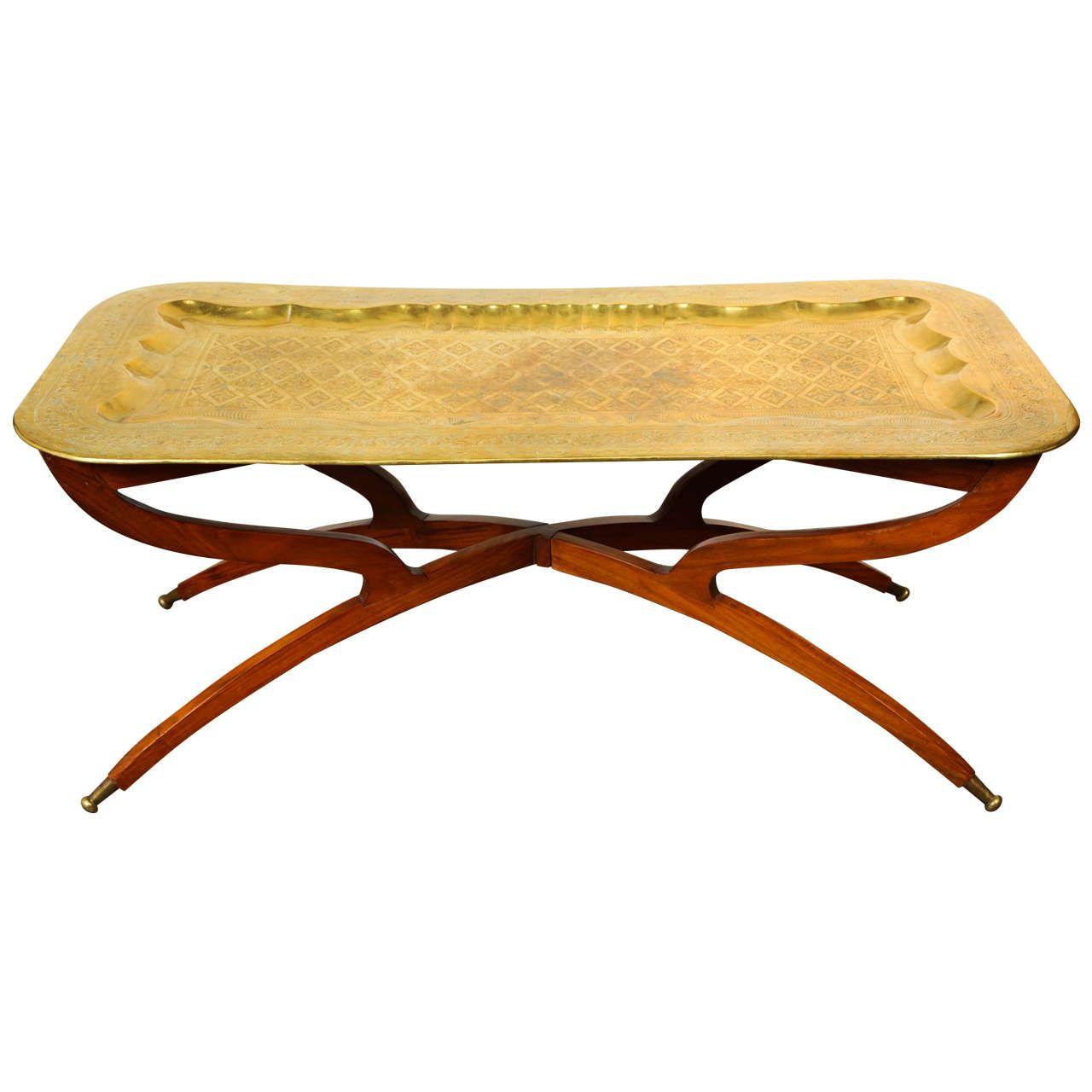 Moroccan Rectangular Brass Tray Coffee Table 1950 Brass Tray