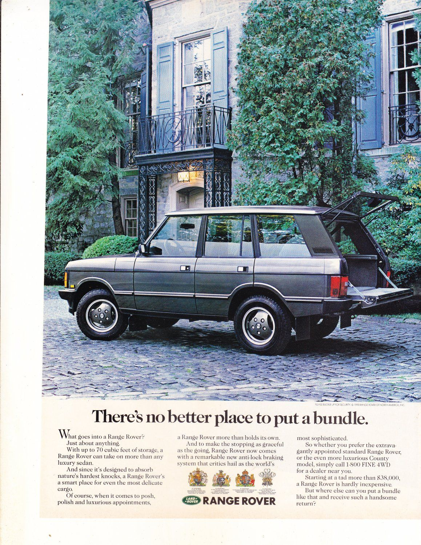 Range Rover Magazine Advertisement Range Rover Classic Range Rover Land Rover
