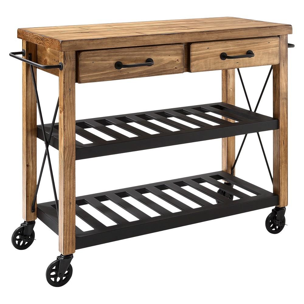 Roots rack industrial kitchen cart woodnatural crosley kitchen