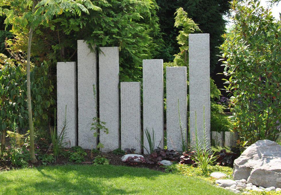 Steinstelen Sichtschutz, Sichtschutz Garten, Natürlicher ...