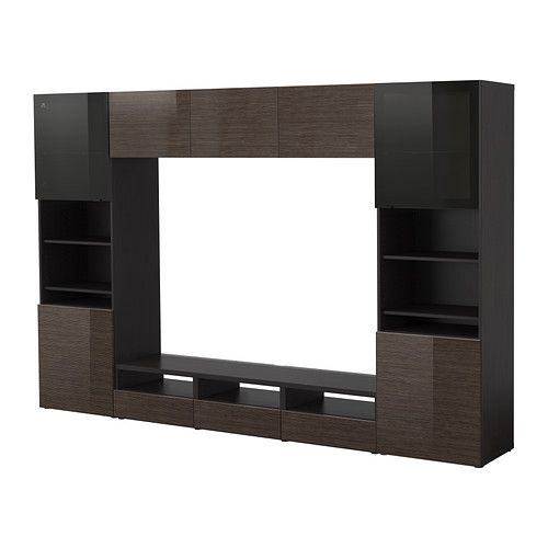 Best Tv Storage Combinationglass Doors Black Browntofta High