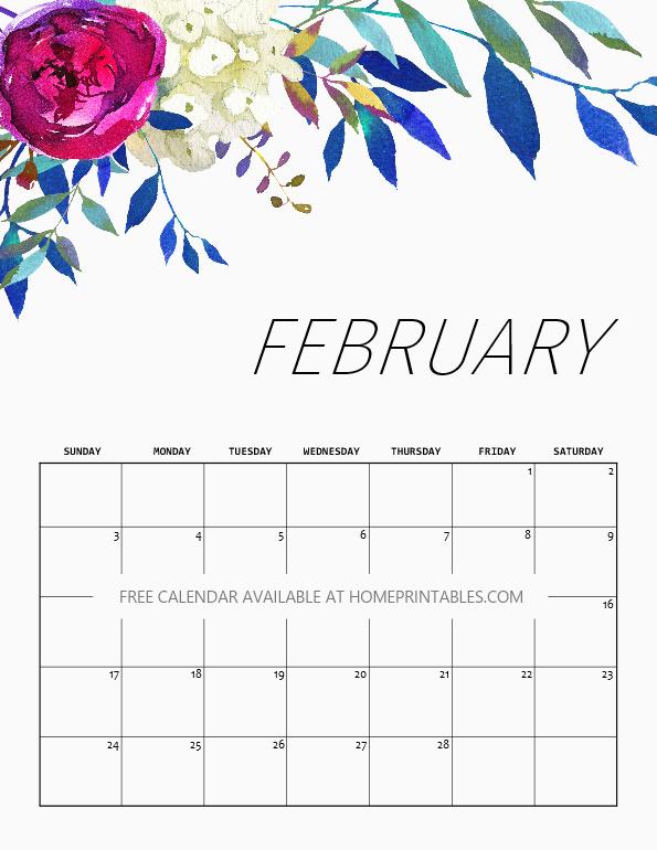 Beautiful February 2019 Calendar FREE Printable Calendar 2019 in Beautiful Florals!   $ Smarts