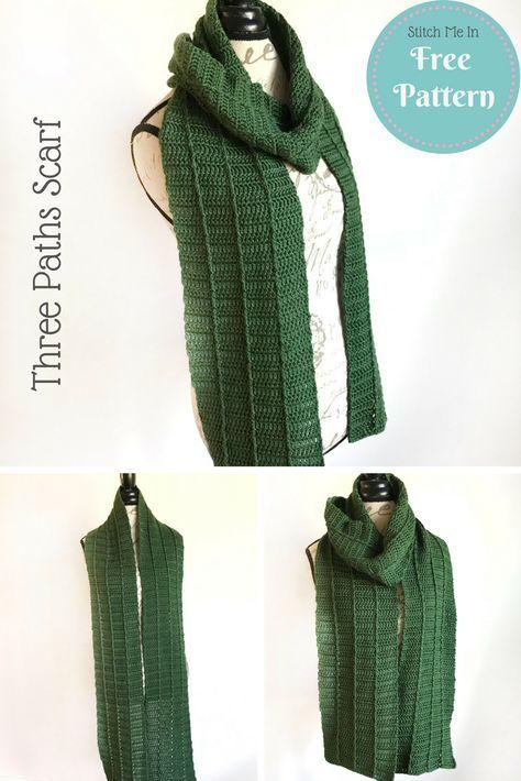 Three Paths Scarf - Free Crochet Pattern | Mi Crochet | Pinterest