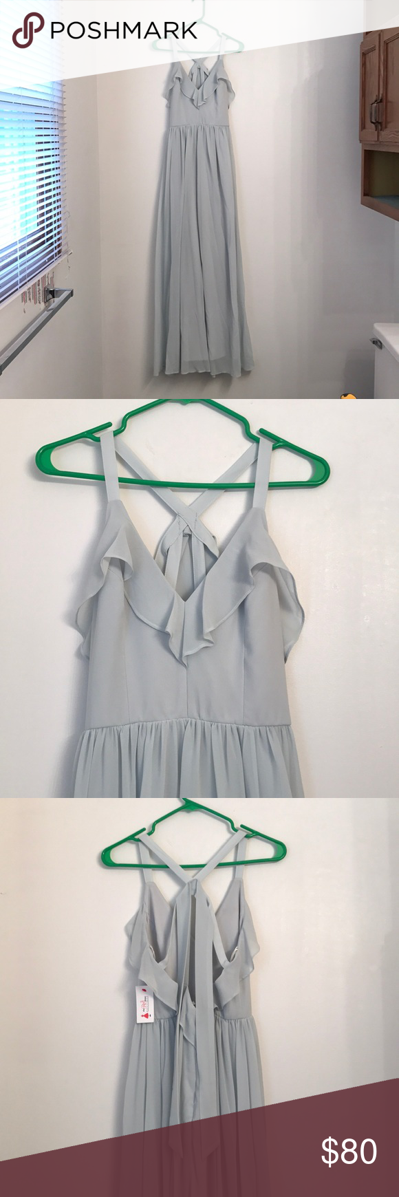 NWT light sage green dress with ruffles LOVE this dress but never got a chance to wear it. Light sage green maxi dress with ruffles and beautiful back detailing! Red Dress Boutique Dresses Maxi #sagegreendress