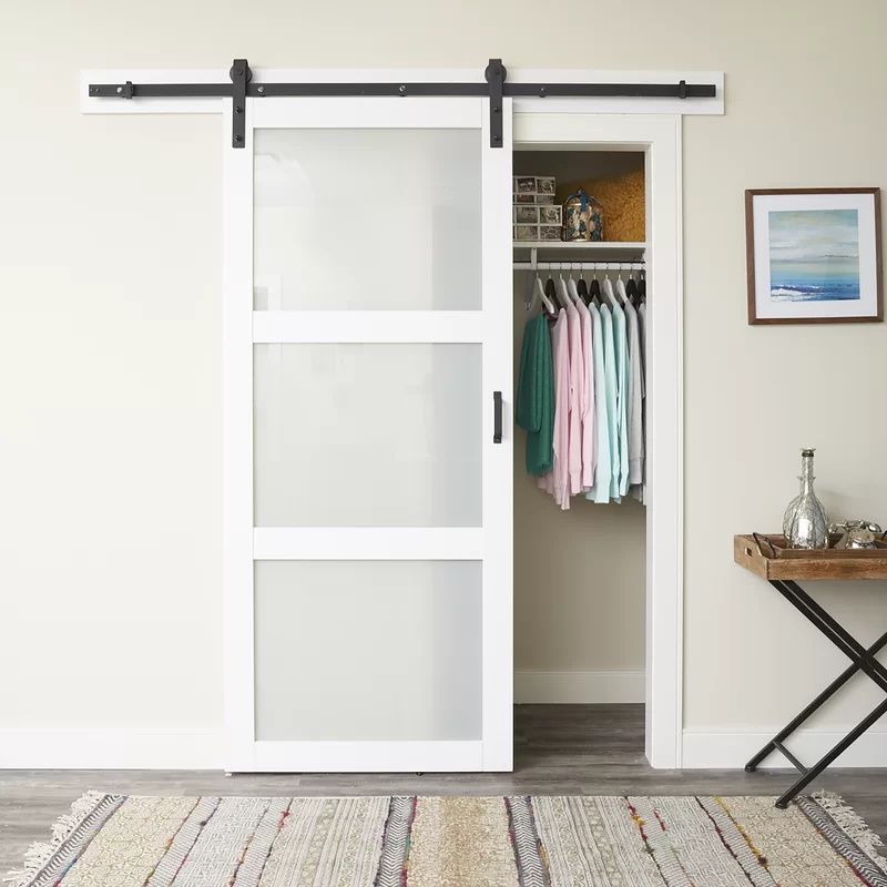Continental Glass Barn Door With Installation Hardware Kit In 2020