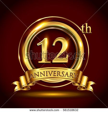 12th Golden Anniversary Logo Twelve Years Birthday Celebration With Gold Ring And Golden Ribbo Business Anniversary Ideas Anniversary Logo Company Anniversary