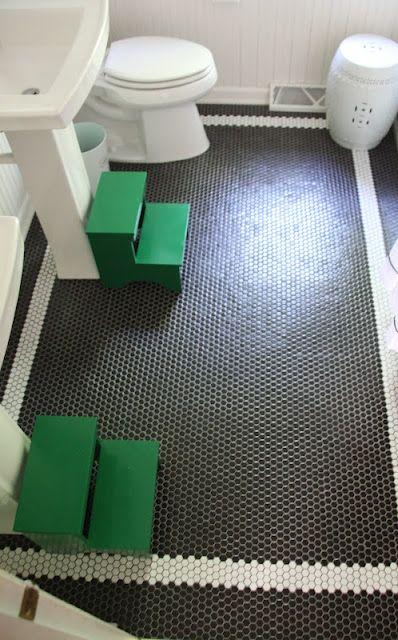 Great Black Hex Tile Floor With White Border Bathroom Floor Tiles Bathroom Flooring Tile Floor