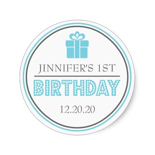 First Birthday Party Favor Stickers (Blue / Gray)