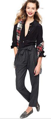 J. Crew - checked shirt with black baggy pants & shirt
