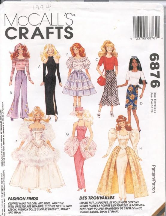 Free Copy of Pattern - McCalls 6876 | Barbie\'s PC World | Pinterest ...