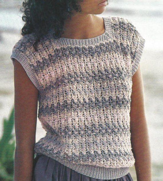 Knit Womans Sleeveless Cotton Top Sweater Pdf /OhhhMama/  pullover sweater jumper tunic vintage patt
